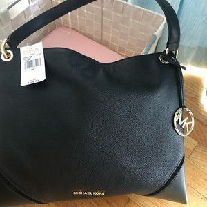 Michael Kors black leather shoulder bag pocketbook